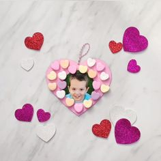 Valentine Craft For Kids - - Make this easy Valentine wreath craft for kids with a few cheap supplies & your child's photo. It's a great art project for the classroom or at home! Preschool Valentine Crafts, Kinder Valentines, Valentines Day Activities, Valentines For Kids, Valentines Crafts For Preschoolers, Valentine's Day Crafts For Kids, Mothers Day Crafts, Toddler Crafts, Craft Kids