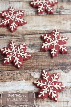 Red Velvet Snowflake Cookies | These Are The Most Popular Holiday Cookies On Pinterest