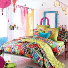 Colorful Bohemian Luxury Holiday Style Tribal Print Kids and Teen Full, Queen Size Bedding Sets