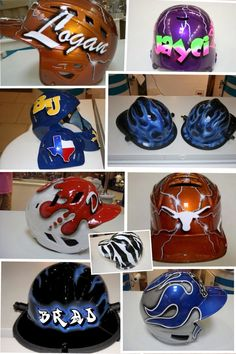 Custom Painted Baseball Helmets by chanelescrafts on Etsy, $125.00