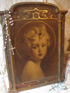 Antique Art Nouveau Baby Jesus Chalkware Wall by GraceandPlenty