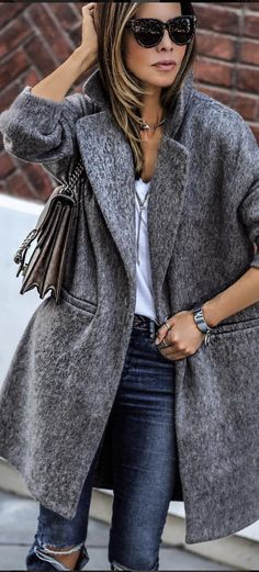 grey oversized coat