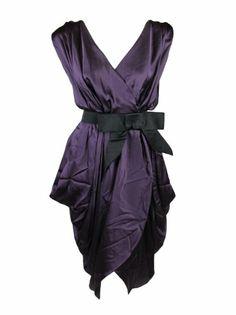 Lanvin womens satin v-neck belt sleeveless silk « Clothing Impulse