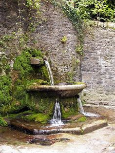 Water fountain outside the walls of Lismore Castle gardens in Ireland.