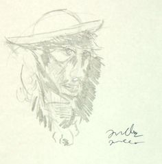 woman with a hat (pencil).