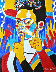 Frida Kahlo sign language art Sign Language Art, American Sign Language, Frases Libra, Deaf Art, Braille, Asl Signs, Deaf Culture, Diego Rivera, Love Signs