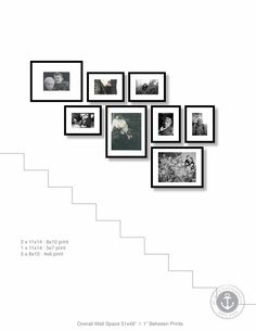 Decorating a staircase wall can prove difficult. The trick is to extend a line on the wall that is parallel to the angle of the stairs. Measure of from your bottom and top step to the same distance and run a line, like you would… Stairway Pictures, Stairway Gallery Wall, Gallery Walls, Wall Pictures, Frames On Wall, Wall Collage, Picture Frames On The Wall Stairs, Picture Wall Staircase, Staircase Frames