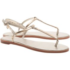 Rachel Zoe Collection Tia Nappa Metallic Gold // Leather strap sandals ($270) ❤ liked on Polyvore featuring shoes, sandals, summer sandals, flat sandals, strappy thong sandals, flat thong sandals and leather strap sandals