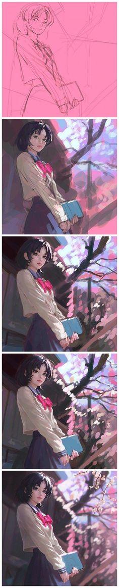 [Ilya Kuvshinov] works as well as original paintings draw process diagrams _ people _ Baidu Post Bar Bar via cgpin.com
