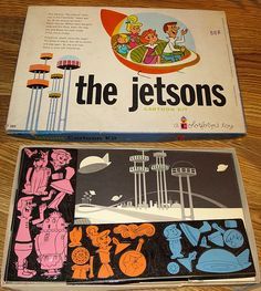 "I spent many happy hours creating new and re-creating old scenes from my favorite tv show ""The Jetsons."" Colorforms play set, 1963"