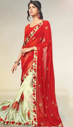 Get Latest Fashionable Traditional Ethnic Deep #Red Georgette #Printed Saree Online   #Price INR- 1795 Link- http://alturl.com/8yfq7