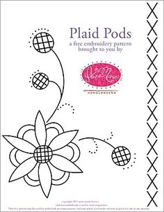 "Free ""Plaid Pods"" embroidery pattern from Anna Maria Horner, via Sew4Home."