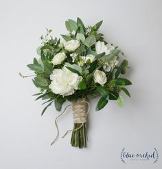 White and Green Bouquet Bridal Bouquet Wedding Bouquet Wedding Flowers Eucalyptus Peonies Greenery Bouquet Boho Bouquet Simple Wedding Bouquets, Boho Wedding Bouquet, Wedding Flower Arrangements, Floral Wedding, Wedding Boquette, Green And White Wedding Flowers, Bridal Bouquets, Bridal Bouquet Diy, Purple Wedding