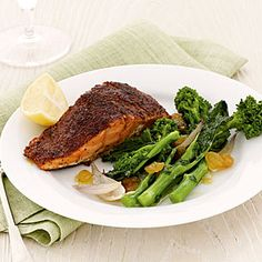 Blackened Salmon with Broccoli Rabe and Raisins +  20 more Heart-Healthy FALL MEALS | health.com