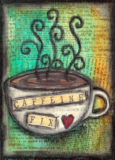 The background was painted with acrylics in Turquoise and Yellow Oxide which was then stamped with a Stampers Anonymous text stamp in Archival coffee.  The ink pad was also used around the edges direct to paper to distress the card a little.  The coffee cup was part drawn onto old book page, cut out and collaged onto the ATC, then the rest of the cup drawn and coloured in a mixture of Neo 2's and charcoal pencils.  Charcoal was also added around the edges of the card.  <3