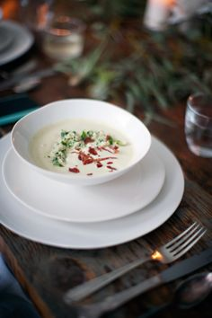 Artichoke Soup with crispy salami and lemon parsley quinoa