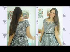 Corte e costura - lindo vestido com pregas macho e detalhe exclusivo no decote | Ellen Borges - YouTube