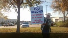 """Man outside of a mosque in Texas this morning"""