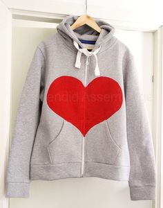 DIY: red heart hoodie.  pretty sure stylist KE has more hoodies than she has anything else in her closet- so she has no business making one of these- but YOU totally should