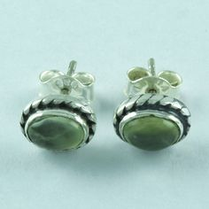 Exotic Design Real 925 Sterling Silver Prehnite Stone Studs Earring E3513 #SilvexImagesIndiaPvtLtd #Stud
