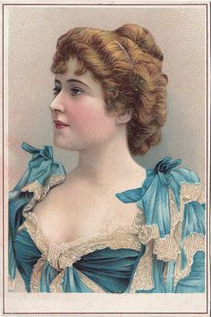 CHROMO E DOUCHIN  - MACHINE A COUDRE  0 PARIS  - HEAD AND SHOULDERS OF WOMAN IN BLUE AND WHITE | by patrick.marks