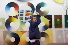 Olafur Eliasson in his studio, 2014 - The Danish-Icelandic, well known for large-scale installations and sculptures using ethereal materials: light, air and water. His most celebrated, the giant artificial sun (The weather project). An important influence on him has been JMW Turner, whose own approach to ephemeral atmospheric effects and interest in colour theories has inspired Eliasson's new series of abstract paintings called Colour experiments, on display at Tate Britain