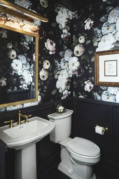 Maison Noir Powder Room Bath Art Deco Contemporary Modern by CM Natural Designs