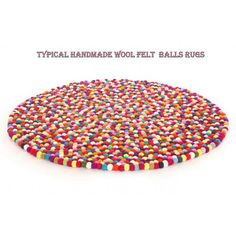 100cm Multicolored Felt ball rug