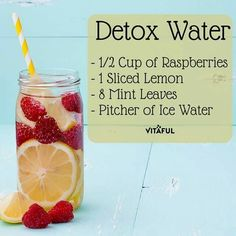 Detox Water Raspberries Lemon Mint