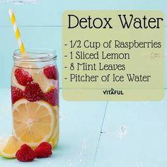 Detox Water Raspberries Lemon Mint