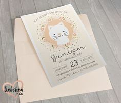 Kitten Themed Birthday Invitations | Custom Digital Download