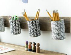 monochrome style pencil holder that hangs /Grillo Designs www.grillo-designs.com