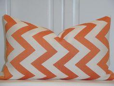 HGTV Home - Decorative Pillow Cover - 12 x 20 or 12 x 18 - Accent Pillow - Throw Pillow - Zig Zag - Chevron In Papaya - Orange