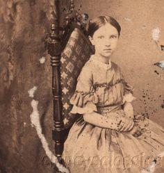 Civil War Era Photo CDV Beautiful Pre Teen Girl Sits in Chair Amazing Dress | eBay