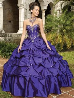 Purple Taffeta Ball Gown Gothic Wedding Dress
