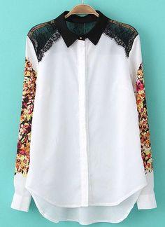 White Contrast Lace Shoulder Floral Blouse - Sheinside.com