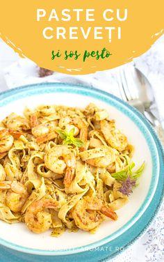 O rețetă simplă și foarte rapidă de paste cu creveți și sos pesto. Paste delicioase și sățioase cu creveți congelați și sos de busuioc. Pesto, Ethnic Recipes