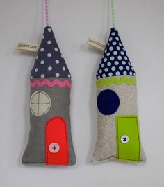 Little fabric houses or ornaments  by ApplesauceAndKetchup on Etsy