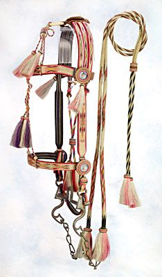 This Laramie territorial prison horsehair bridle, circa 1890s, sold for $5,175. The all natural black and white Wyoming-territorial hitched horsehair bridle has 14 hair tassels, closed reins and romal. The bridle features bold geometric diamond patterns.