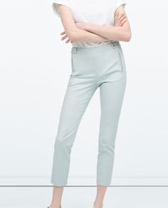 Image 2 of DOUBLE FABRIC PRESS-STUD WAIST TROUSERS from Zara