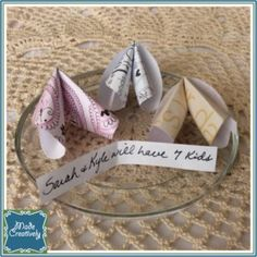 Paper Fortune Cookies | MadeCreatively | Break open this paper fortune cookie to find a clever prediction inside! From weddings to baby showers, birthdays and more, this engaging party favor will delight guests of all ages.
