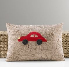 Applique Car Pillow Cover & Insert | Decorative Pillows | Restoration Hardware Baby & Child