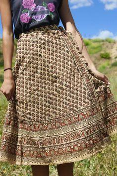 Classic 1970s Vintage Indian Block Print Wrap Skirt