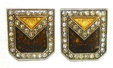 French Designer Pierre Bex Art Deco Style Enameled Earrings