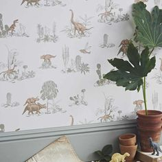 Dino from Sian Zeng, beautiful dinosaur wallpaper for boys bedrooms