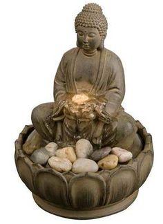 Indoor Buddha Lotus Zen Tabletop Water Fountain With Light