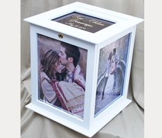 Picture frame card box for wedding reception. way better than the DIY one I did for my wedding Wedding Cards Keepsake, Card Box Wedding, Wedding Gifts, Wedding Day, Dream Wedding, Personalized Wedding, Trendy Wedding, Wedding White, Wedding Reception