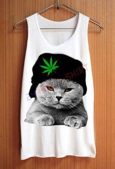 CAT Shirt Hat Weed Shirts Cannabis Marijuana Animal Shirt Top Tank Top Tee Tunic Singlet Women - Size S M L www.WeedStatus.com