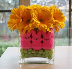 I did something similar at Halloween but didn't use the flowers. Peeps aren't just for eating....