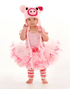 Crochet Pig Hat  Pink  Pig Costume Hat  by Cutiepatootiedesignz, $25.00